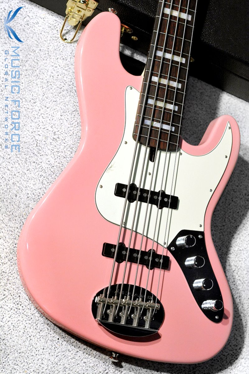 Lakland US Custom 55-60 Vintage J Bass-Shell Pink w/Active Preamp, MOP Block Inlay & Matching Headstock(2019년산/신품)